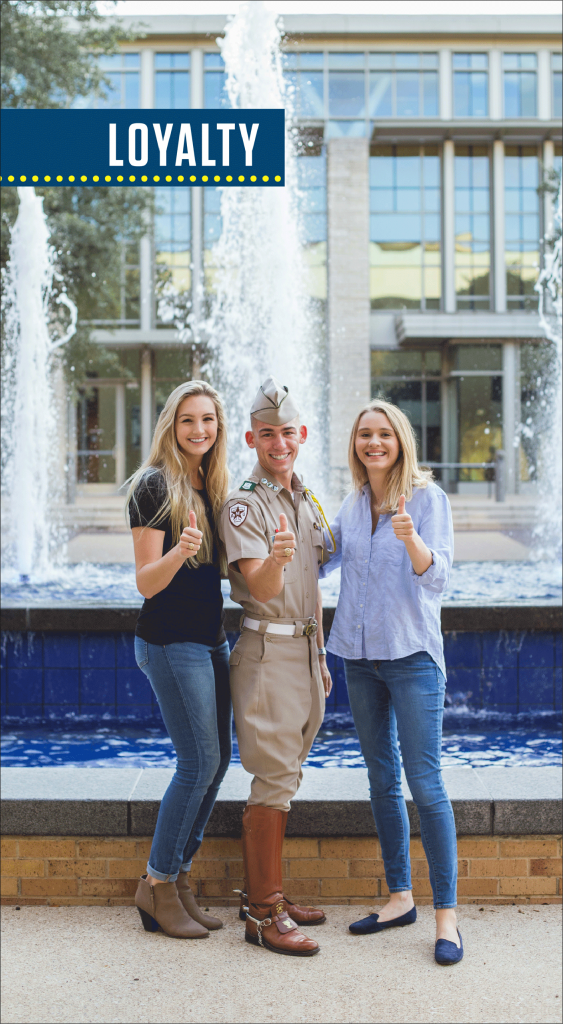 Tara Latter (left), Nathan Seago (center) and Claire Fisher (right) representing Loyalty.