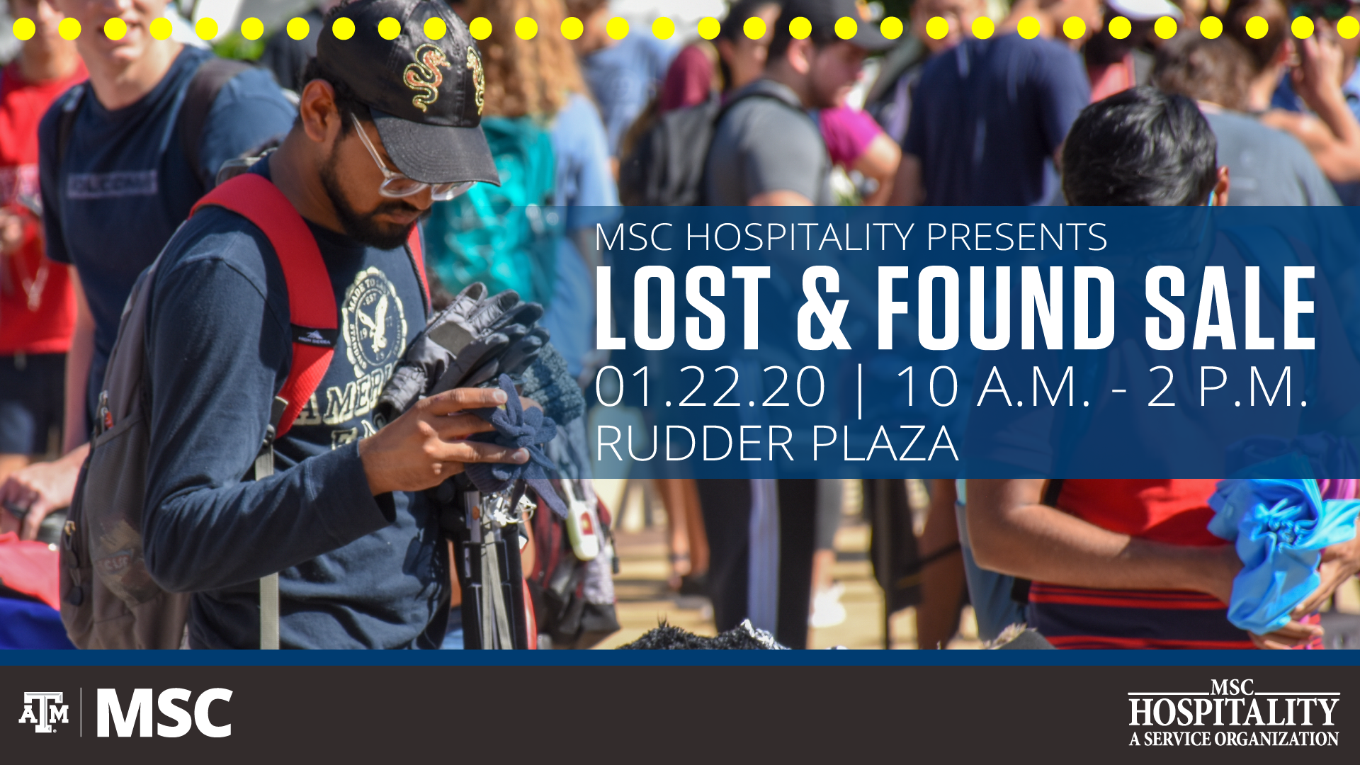 Lost a& Found Sale, January 22, 2020, Rudder Plaza, 10 a.m. to 2 p.m.