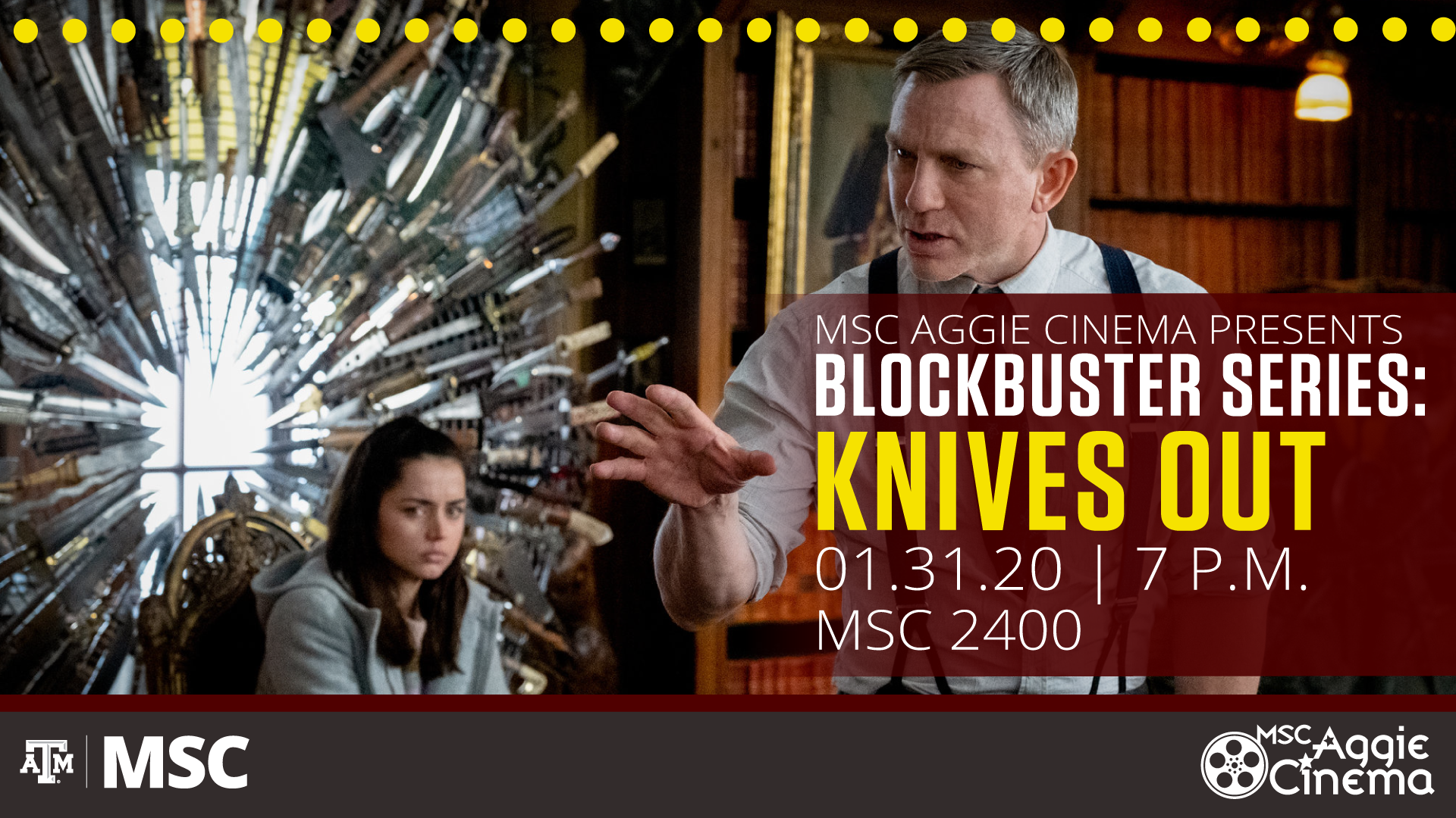 Movie Poster of Knives Out - Free screening on January 31, 2020 at 7 p.m. in MSC 2400