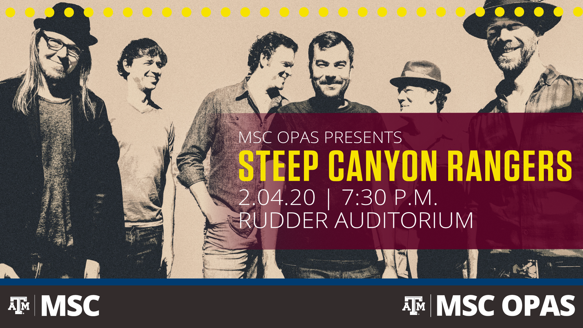 MSC OPAS presents Steep Canyon Rangers on February 2, 2020 at 7:30 p.m. in Rudder Auditorium.