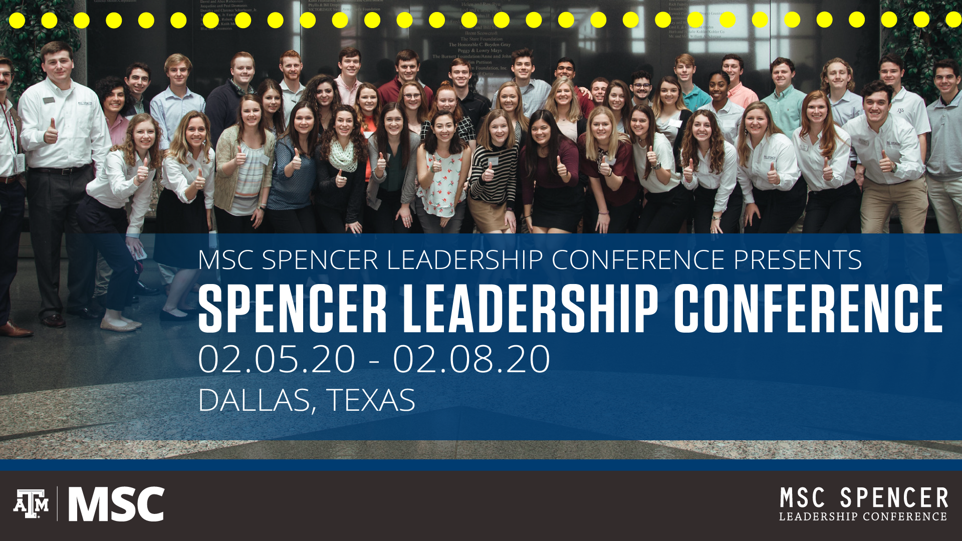 Spencer Leadership Conference, February 5–8, 2020 in Dallas, Texas.