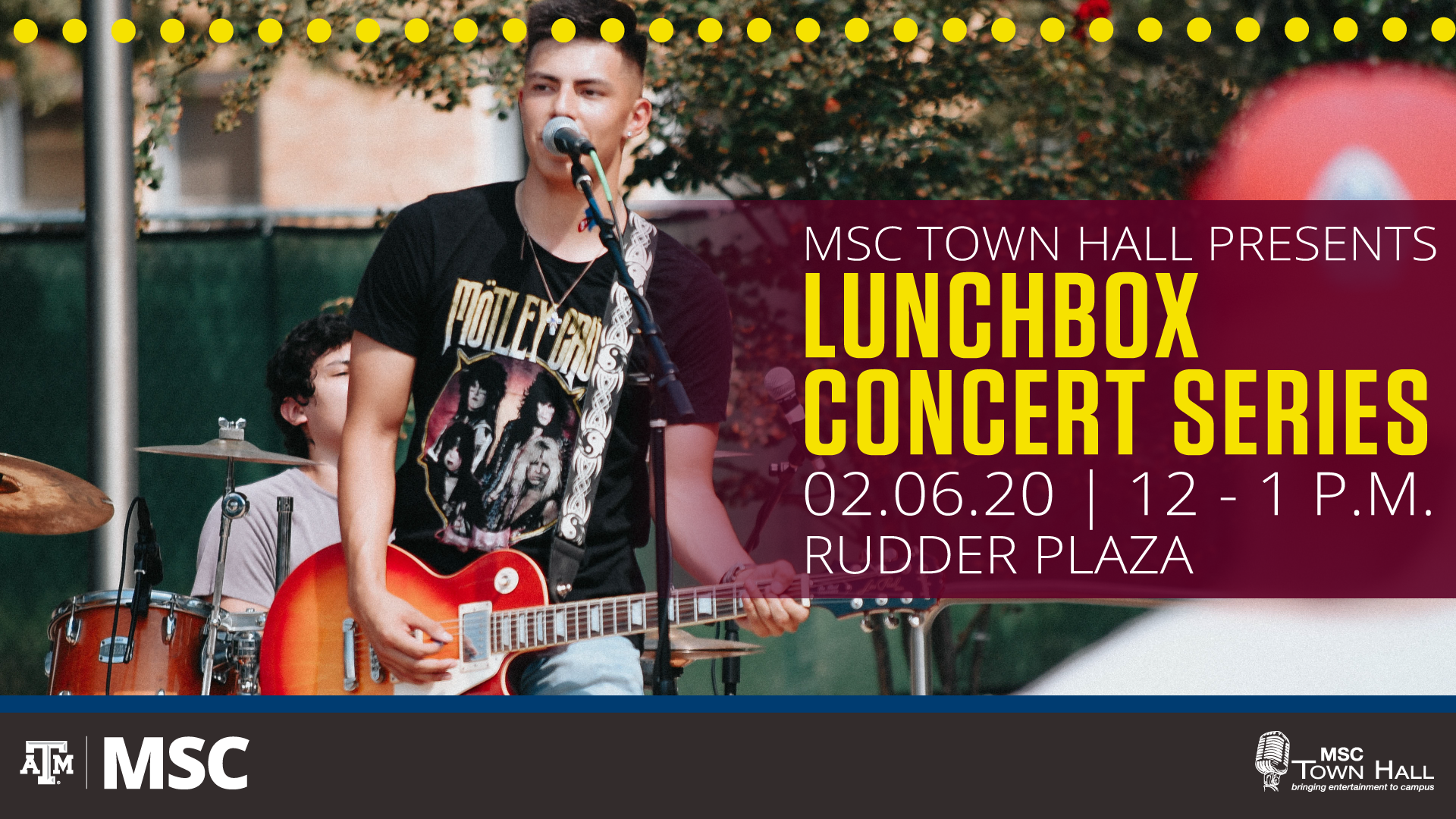 Lunchbox Concert Series, February 6, 2020, 12–1 p.m. in Rudder Plaza.