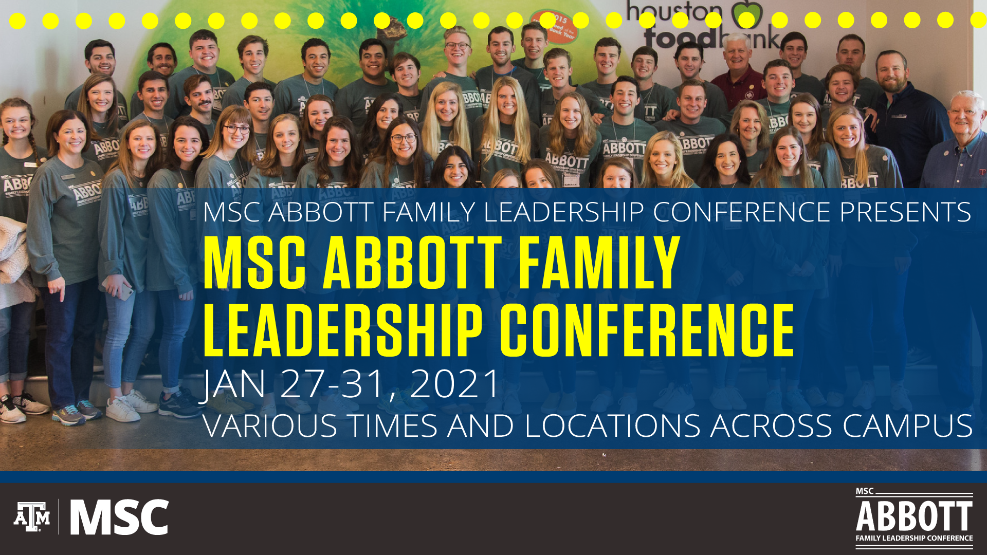 MSC Abbott Family Leadership Conference from January 27 to 31, 2021, in various times and locations across campus